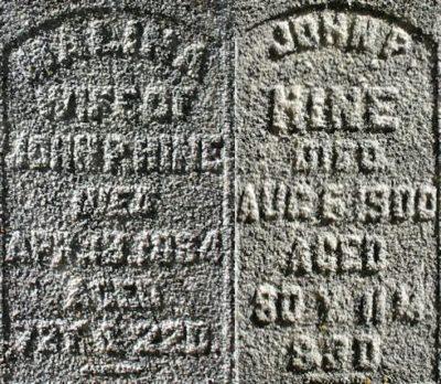 Malina and John P. Hine headstone - courtesy of SunCacher at FindaGrave.com