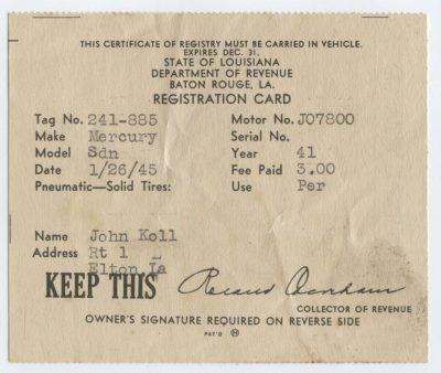 John Koll - car registration