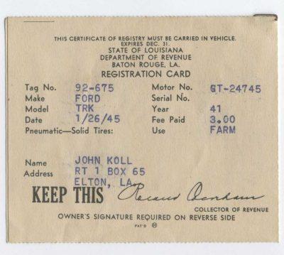 John Koll - truck registration
